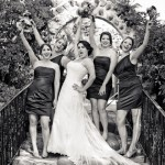 Bride-and-Bridesmaids-on-steps---B&W
