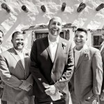 Groomsmen-in-front-of-Adobe-building---B&-W