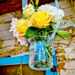 Mason-jar-with-Yellow-Flowers-at-Ceremony-Alter---hanging